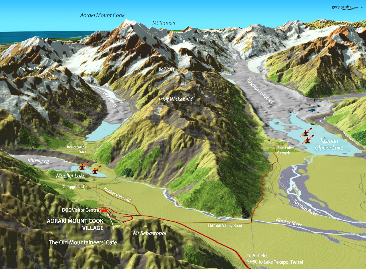 Southern Alps New Zealand Map.Mt Cook Home
